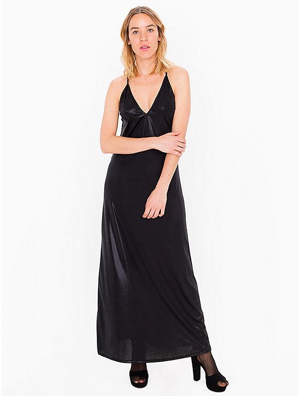 Metallic Jersey Strappy Maxi Dress