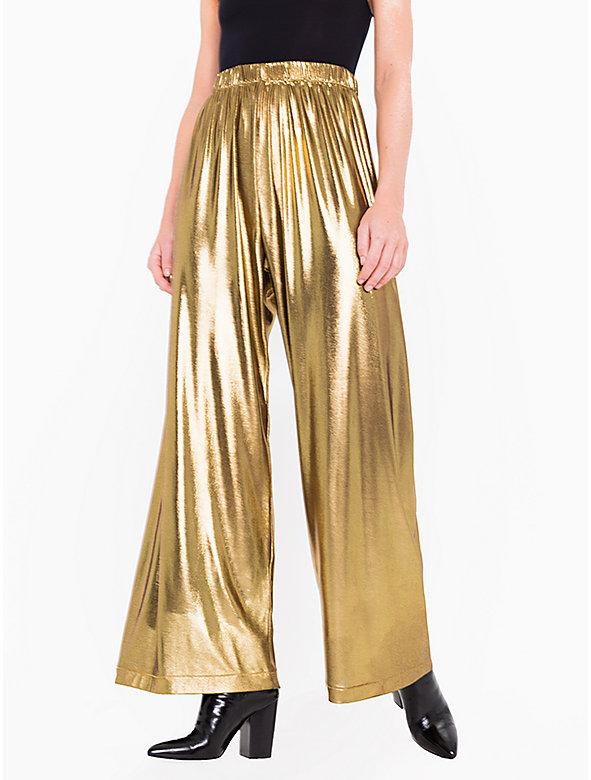 Metallic Slinky Wide Leg Pant