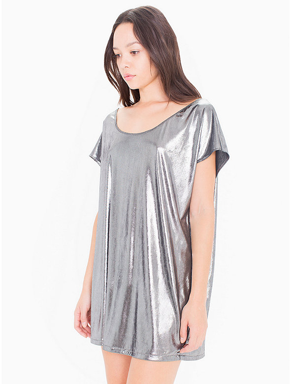 American Apparel Womens Metallic Jersey Short Sleeve Tunic in Black, Gold, or Gunmetal