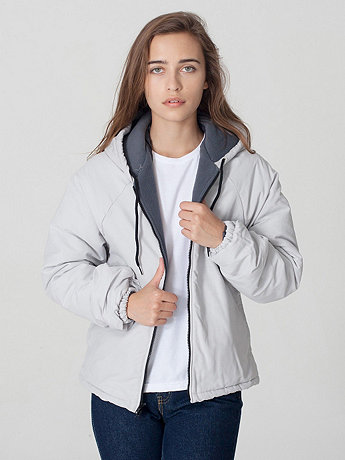 Unisex Slub Nylon Fleece-Lined Parka