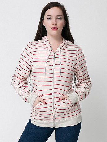 Unisex Striped Fleece Zip Hoodie