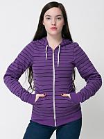 Unisex Striped Fleece Zip Hoodie