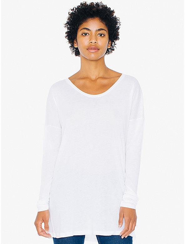 Cotton Modal Drop Shoulder Long Sleeve Tunic Top
