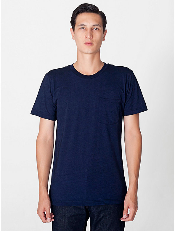 Indigo Tissue Jersey Crewneck Pocket T-Shirt