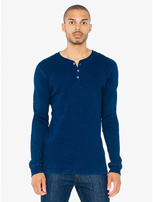 Indigo Tissue Jersey Henley Long Sleeve T-Shirt