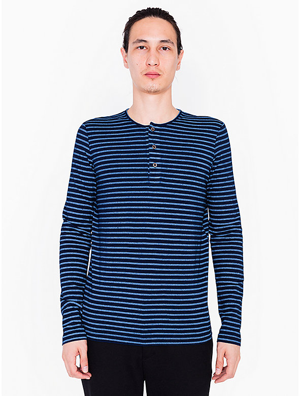 Printed Indigo Tissue Jersey Henley Long Sleeve T-Shirt