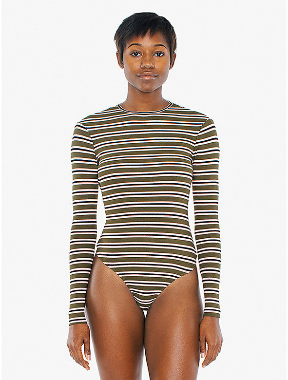 Striped 2x1 Rib Keyhole Long Sleeve Bodysuit