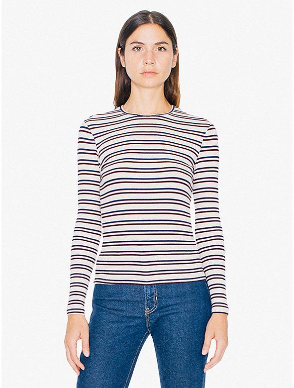 Striped 2x1 Rib Crewneck Long Sleeve Top