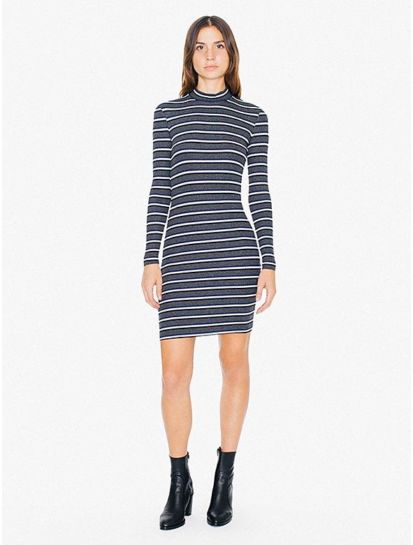 Striped 2x1 Rib Mock Neck Long Sleeve Mini Dress