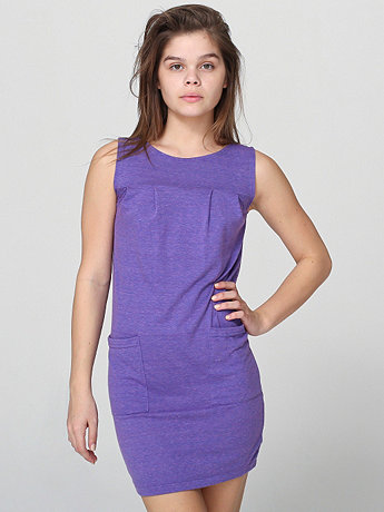 Sleeveless Tri-Blend Pleated Pocket Dress