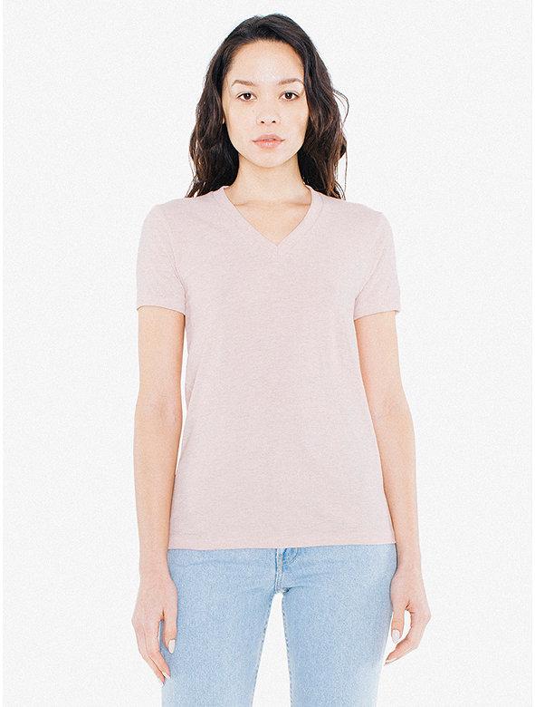 Tri-Blend Women's V-Neck Track T-Shirt