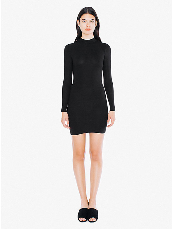 2x2 Rib Long Sleeve Mock Neck Mini Dress