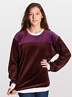 Unisex Velour Color Block Long Sleeve Raglan