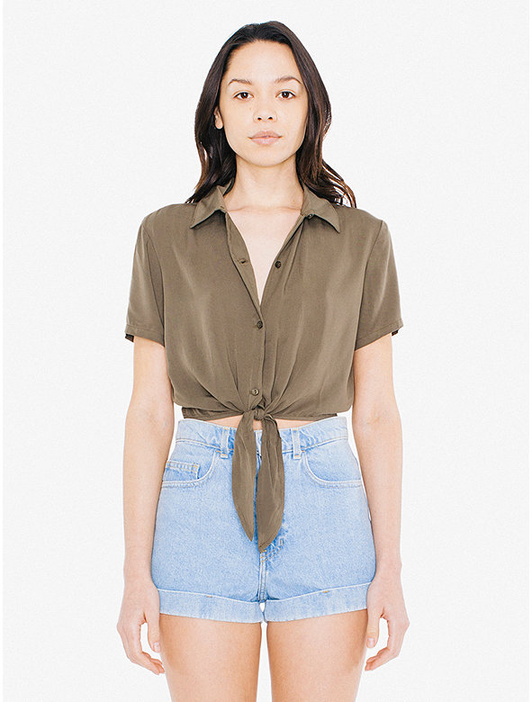 Viscose Twill Mid-Length Tie-Up Blouse