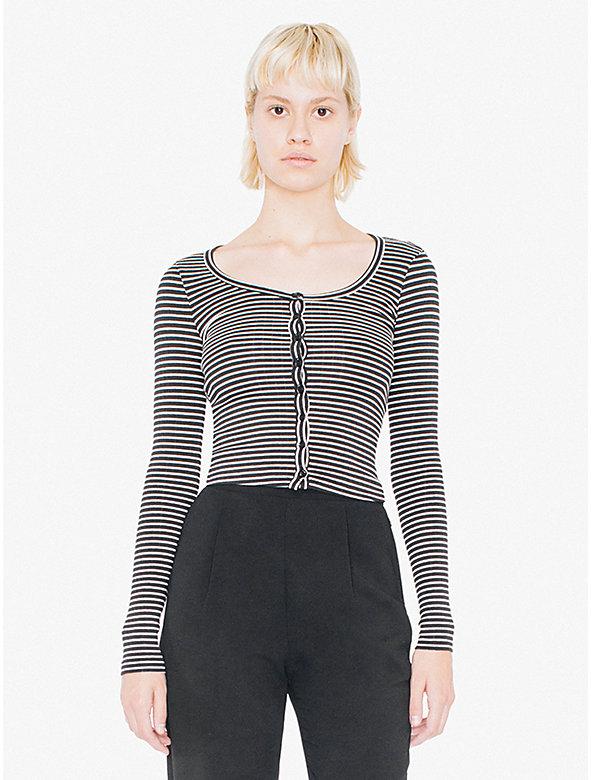 Long Sleeve Button Crop Top