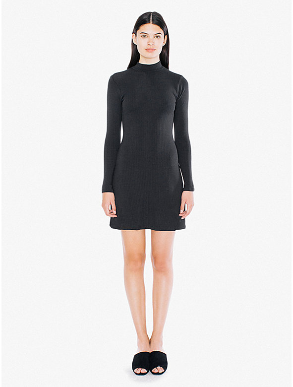 9x1 Rib Long Sleeve Mock Neck Mini Dress