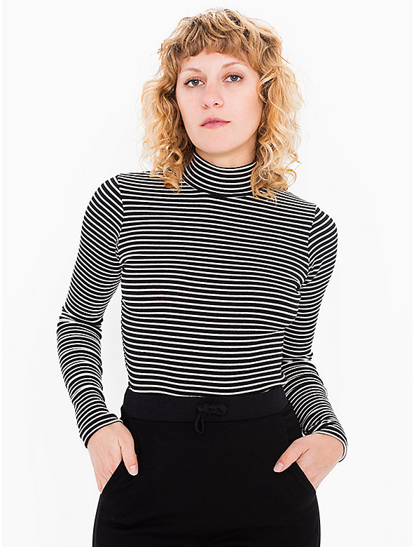 Striped 9x1 Rib Turtleneck Top