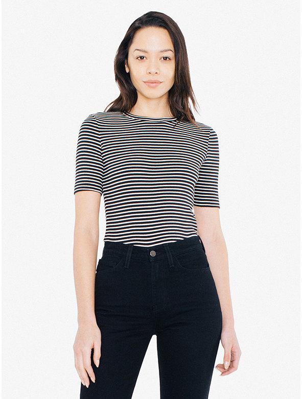 Striped 9x1 Rib Fitted T-Shirt