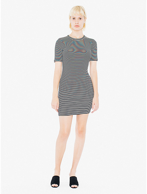 9x1 Rib Crewneck Short Sleeve Mini Dress