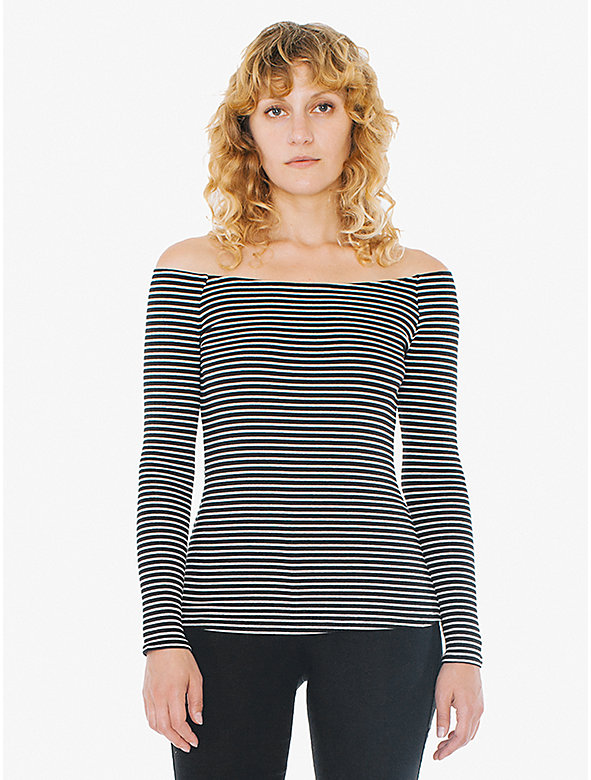 Striped 9x1 Rib Carmen Top