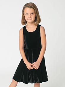 Kids' Stretch Velvet Skater Dress