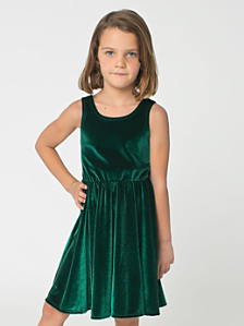 Kids' Stretch Velvet Skater Dress