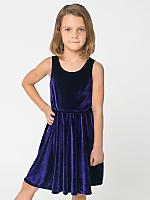 Kids Stretch Velvet Skater Dress