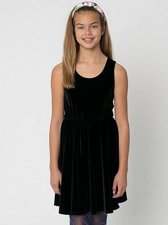 Youth Stretch Velvet Skater Dress