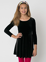 Youth Stretch Velvet Long Sleeve Skater Dress