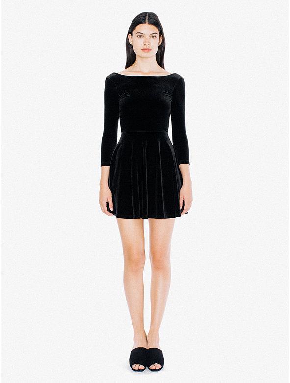 Velvet Long Sleeve Skater Dress