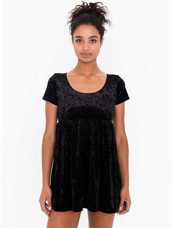 Stretch Velvet Babydoll Dress