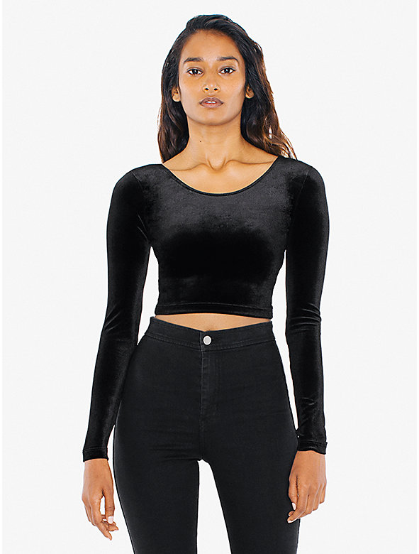Stretch Velvet Long Sleeve Crop Top