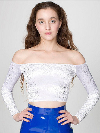 Celestial Stretch Velvet Long Sleeve Off Shoulder Top