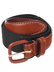 Unisex Solid Web Belt Leather Buckle