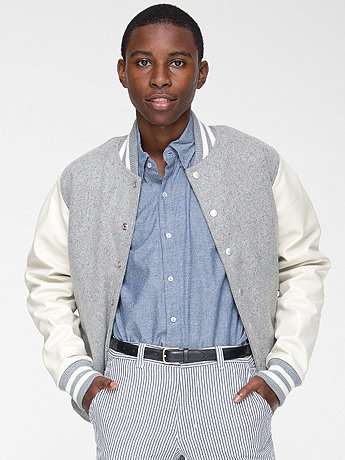 Wool Club Jacket with Leather Sleeves