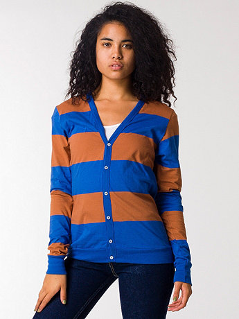 Unisex Cotton Wide Stripe Jersey Cardigan