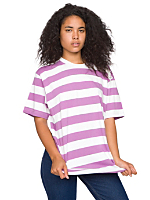 Unisex Cotton Wide Stripe Jersey Crew Neck T-Shirt