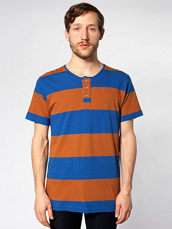 Cotton Stripe Jersey Short Sleeve Tab T-Shirt