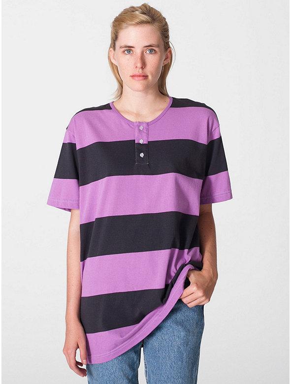 Unisex Cotton Stripe Jersey Short Sleeve Tab T-Shirt