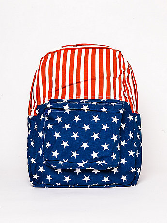 American Flag Printed Canvas School Bag