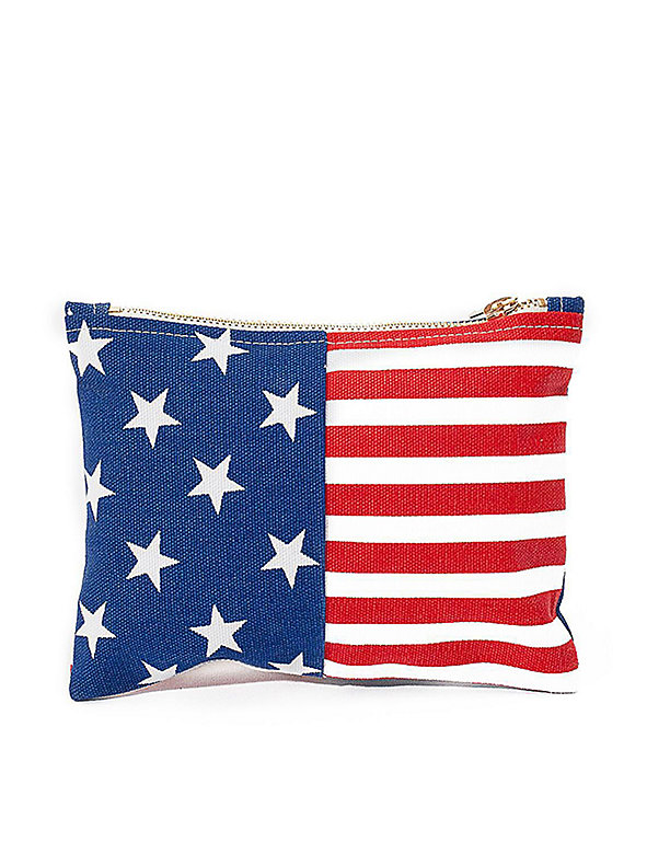 Small Stars & Stripes Printed Carry-All Pouch