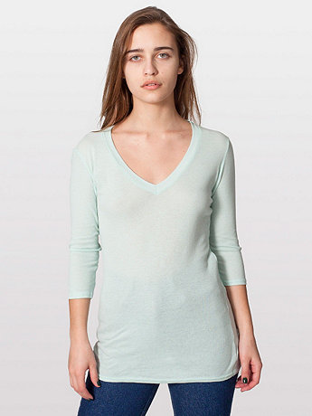 Sheer Rib 3/4 Sleeve V-Neck