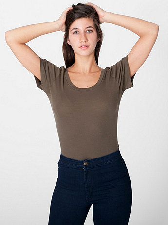 Sheer Rib Scoop Back Tee
