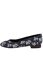 Low Heel Flower Denim Slip On