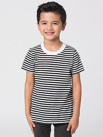Kids Poly-Cotton Stripe Short Sleeve Crew Neck