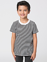 Kids' Poly-Cotton Stripe Short Sleeve Crew Neck