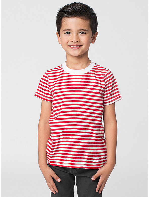Kids' Poly-Cotton Stripe Short Sleeve Crew Neck