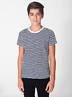 Youth Poly-Cotton Striped Short Sleeve Crew Neck