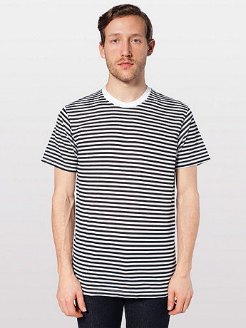 Poly-Cotton Stripe Crew Neck