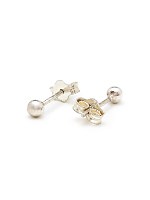 Silver Plated Earring Pair - 3MM Ball Stud